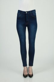 Skinny highwaisted sateen navy spray 2