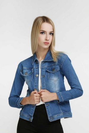 Stretchy-Denim-Jacket-Deep-Sky-Blue-(pose)